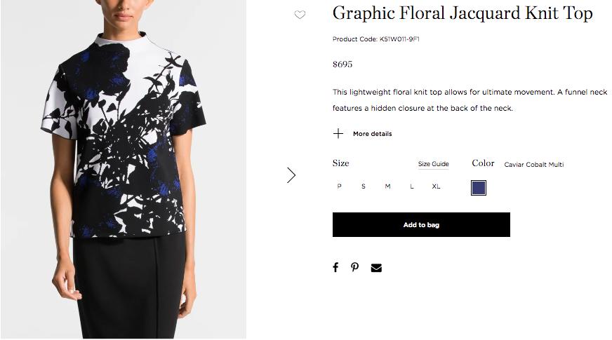 Fashion product copywriting for St. John Knits.